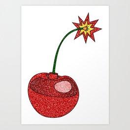 Glitter Cherry Bomb Art Print