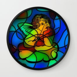 Stained Glass Cherub Wall Clock