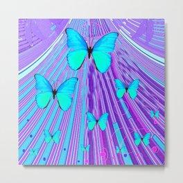 MIGRATING NEON BLUE BUTTERFLIES & PURPLE  ART Metal Print