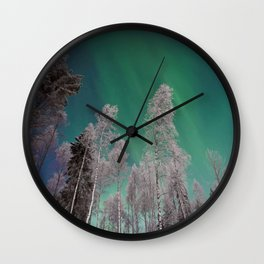 Northern Lights and White Trees (Color) Wall Clock