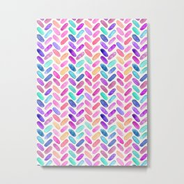 Rainbow Herringbone Watercolor Oblongs Metal Print