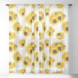 Golden Yellow Sunflower Floral Summer Print Sheer Curtain