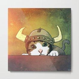 Viking Kitty Metal Print