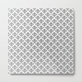 Damask Brocade in Monochrome Black and White Metal Print