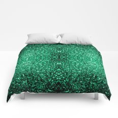 Beautiful Emerald Green glitter sparkles Comforters