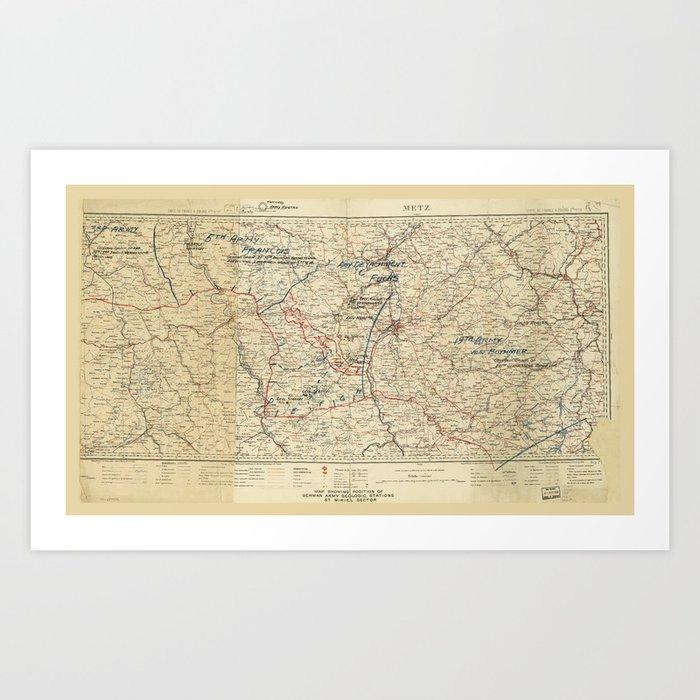 World War I German Army Positions Map (circa 1918) Kunstdrucke