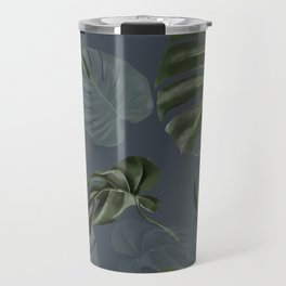 monstera navy pattern Travel Mug