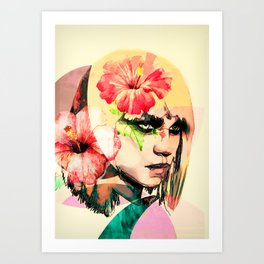 WOMAN WITH FLOWERS 4 Art Print