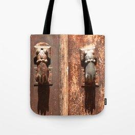 Antique wooden door with hand knockers Tote Bag