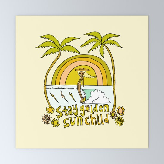 Stay Golden Sun Child Retro Surf Art By Surfy Birdy Mini Art Print By Surfybirdy Society6