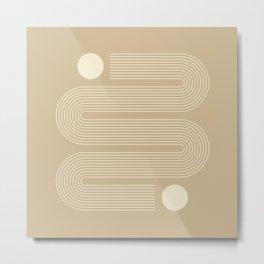 Geometric Lines in Beige Metal Print