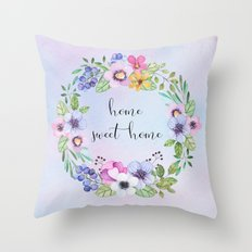 Home sweet home -blue Throw Pillow