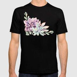 Desert Succulents on White T-shirt