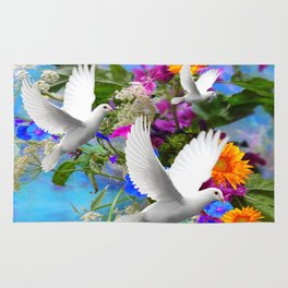White Doves in Blue & Purple Garden Rug