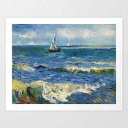 Seascape near Les Saintes-Maries-de-la-Mer by Vincent van Gogh Art Print