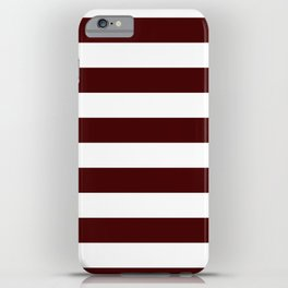 Horizontal Stripes - White and Bulgarian Rose Red iPhone Case