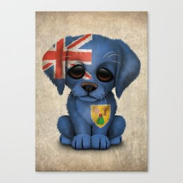 Cute Puppy Dog with flag of Turks and Caicos Canvas Print