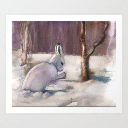 Winter Bunny Art Print