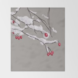 Winter Berries Branches Covered In Snow Throw Blanket