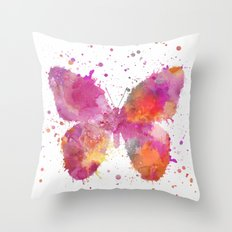 Artsy Butterfly colorful watercolor art Throw Pillow