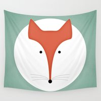 fox Wall Tapestries featuring fox by ovisum