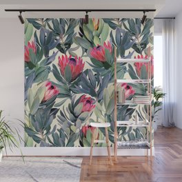 Painted Protea Pattern Wall Mural