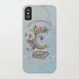 Freedom, Books, Flowers and The Moon iPhone Case