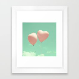 Close Love, Pink heart balloons on soft blue sky Framed Art Print