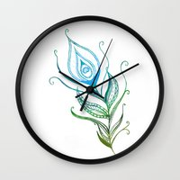 peacock feather Wall Clocks featuring Peacock Feather by jozi.art
