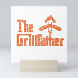 Grillfather Funny Grill Party Grilling Summer Gift Mini Art Print