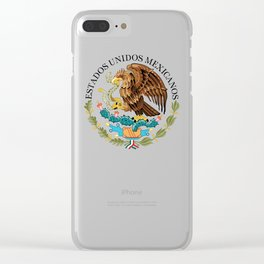 Mexican National Coat of Arms & Seal on Adobe Red Clear iPhone Case
