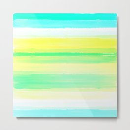 Abstract Colorful Watercolor Stripes Pattern Metal Print