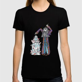On the warlock's elaborate jewelry mantel. T-shirt
