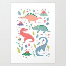 Dinos + Volcanoes - Coral Art Print
