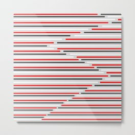 Mixed Signals Abstract - Red, Gray, Black, White Metal Print