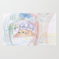 cheshire cat Area & Throw Rugs featuring cheshire cat by melissa E