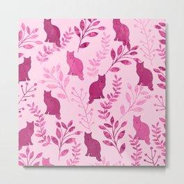 Watercolor Floral and Cat V Metal Print