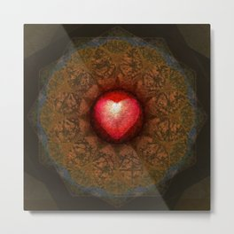 Valentine Heart Mandala Abstract (Love Overcomes the Darkness) Metal Print