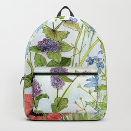 Floral Watercolor Botanical Cottage Garden Flowers Bees Nature Art Backpack