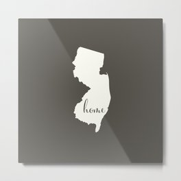 New Jersey is Home - White on Charcoal Metal Print