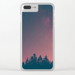 Pink And Black Milky Way Galaxy Forest Clear iPhone Case