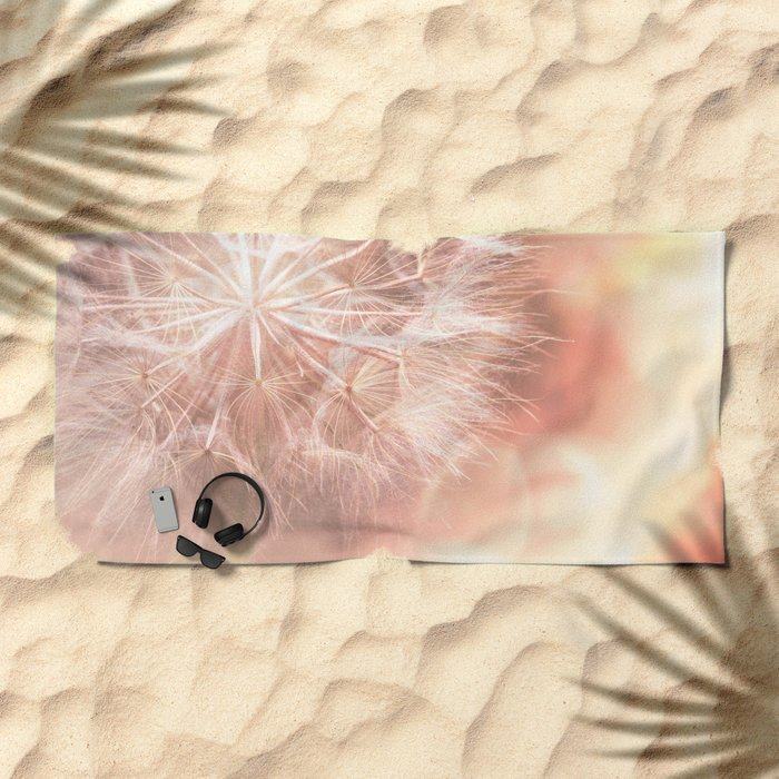 Pink Macro (2) Dandelion Flower - Floral Nature Photography Art and Accessories Beach Towel