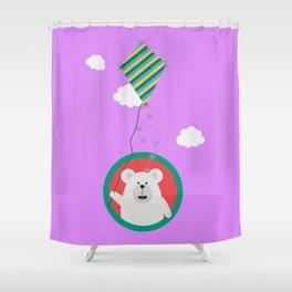 Polar Bear with Kite in cirle Shower Curtain