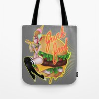 junk food Tote Bags featuring Junk Food by Artetak