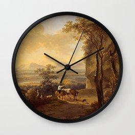 Italianate-landscape by Jan Both Wall Clock