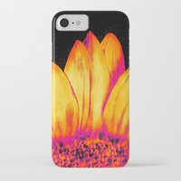 sunflower iPhone & iPod Cases featuring Sunflower Pink Yellow by PureVintageLove