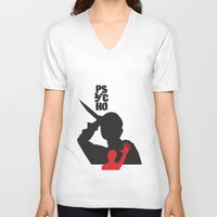 psycho V-neck T-shirts featuring Psycho  by Geminianum