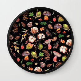 Cotton Fungi berries mix - BLACK Wall Clock