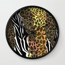 Wild Animal Floral Print Wall Clock