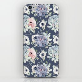 Beautiful Succulent Garden Navy Blue + Pink iPhone Skin